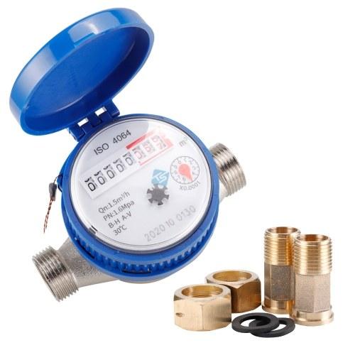 Contatore per acqua fredda da 15 mm 1/2 pollice per giardino domestico con raccordi gratuiti Misuratore di misurazione dell'acqua contatore rotante regolabile 360 0,0001 per uso domestico e giardino