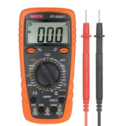 NJTY DT9205T 2000は、AC / DC電流AC / DC電圧抵抗容量周波数ダイオードと導通を測定するためのマルチメータTrueRMS2.6インチLCDデジタルユニバーサルメータ多目的をカウントします
