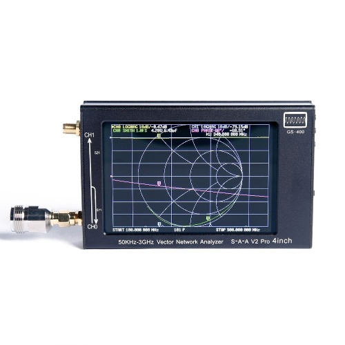 Tragbarer 4-Zoll-LCD-TFT-Bildschirm 50 kHz ~ 3 GHz NanoVNA V2 3G GS400-Vektornetzwerkanalysator Gehäuse aus Aluminiumlegierung Professional Utility Tools