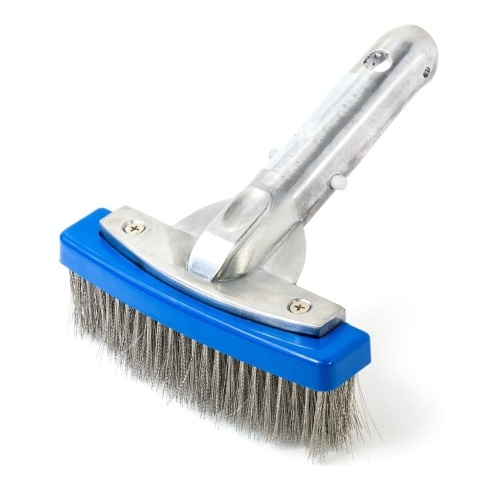 5 Inch Heavy Duty Wire Pool Brush Swimming Pool Cleaner Aluminium Handle and Stainless Steel Bristles Designed for Concrete and Gunite Pools Great on