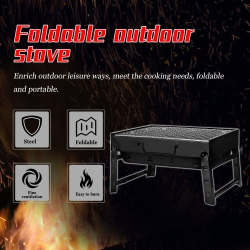 Thickened BBQ Portable Barbecue Oven Folding Home Grill Outdoor Black Steel Furnaces Outdoor Gift Compact Grill Cooker