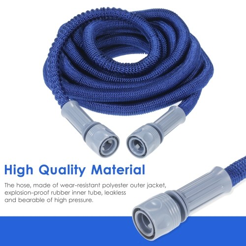 KKmoon Expandable Garden Hose Flexible Telescopic Water Hose with High Pressure Hose Spray Nozzle for Garden Watering Car Washing (25FT)