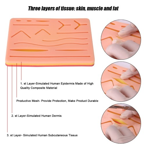 Surgicals Suture Exercise Training Kit Silicone Surgicals Skin Suture Training Module Kit Medical Model Surgicals Tools for Dermatologist Students