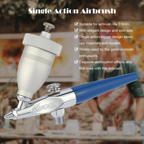 KKmoon Mini Sandblasting Airbrush Sandblaster Spray Model Air Brush Kit for Art Painting Manicure Metal Etching Glass Engraving/Hand-cut Single Action Gravity Feed 0.5mm Spray Gun