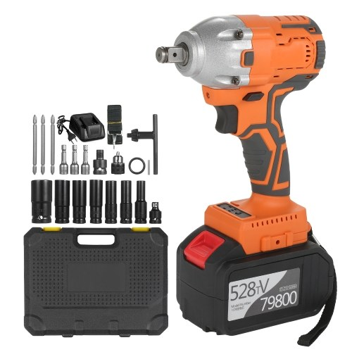 Cordless Brushless Impact Wrench 1/2 Inch 380Nm High Torque 6.0A Li-ion Battery...