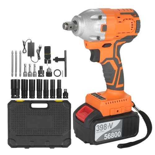 Cordless Brushless Impact Wrench 1/2 Inch 380Nm High Torque 4.0A Li-ion Battery...