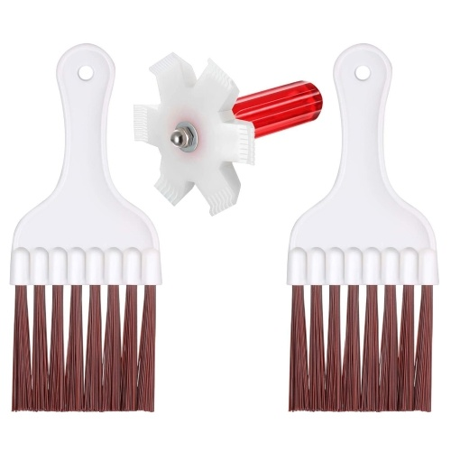 3pcs Air Conditioner Condenser Plastic Fin Cleaning Brush and Comb Set Fin Cleaner Fin Straightener Refrigerator Coil Cleaning Whisk Brush HVAC Maintenance Evaporator Radiator Repair Clean Tool