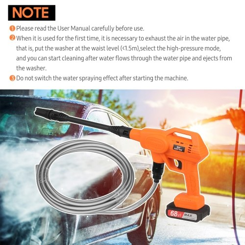 21V Household Car Washer Vehicle Cleaning Machine High Pressure Car Wash Tool Portable Car Washing Machine Automobile Washer with One Lithium Battery EU Plug