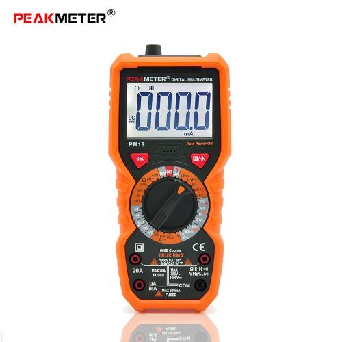 PEAKMETER PM18 Истинный RMS Многофункциональный цифровой мультиметр Измерение AC / DC Напряжение Ток Сопротивление Емкость Частота HFE NCV Живая линия тестер