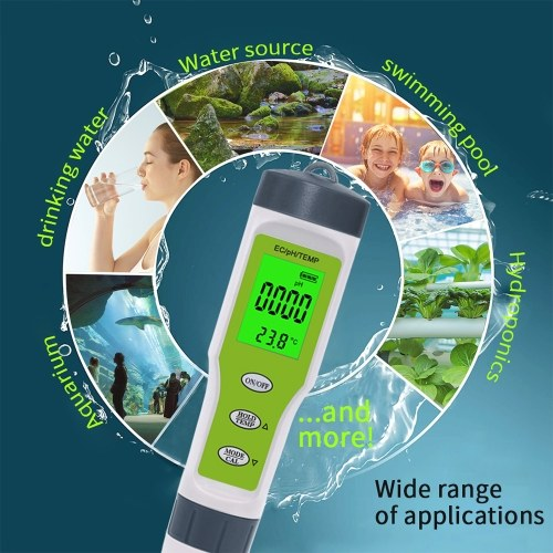 PH Meter 3-in-1 Digital PH Tester Pen with PH EC Temperature Measurement High Accuracy 0-14 PH Range Pocket Size (with backlight)