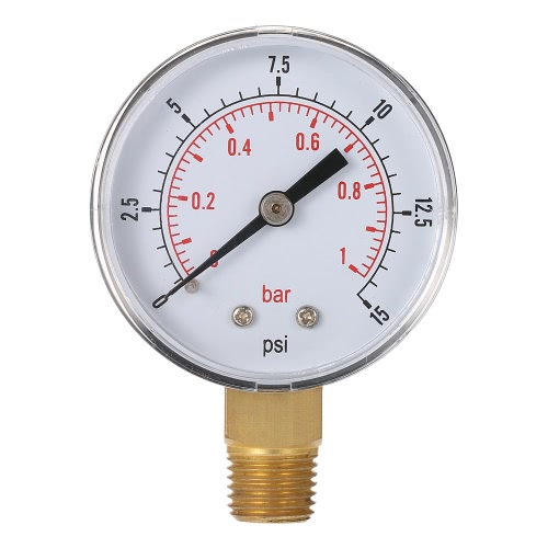 50mm 0~15psi 0~1bar Pool Filter Water Pressure Dial Hydraulic Pressure Gauge Meter Manometer 1/4