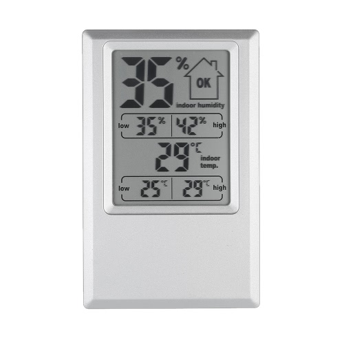 ° C / ° F Cyfrowy termometr Higrometr Wewnętrzna wilgotność powietrza Maks. Wartość minimalna Wyświetlacz komfortowy