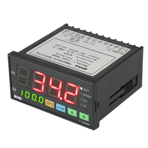 MYPIN Multi-functional Intelligent Temperature Controller Dual 4 Digital LED Display ℃/℉ Thermostat PID Heating Cooling Control TC/RTD Input SSR Output 1 Relay Alarm 96mmX48mmX80mm 90-260V