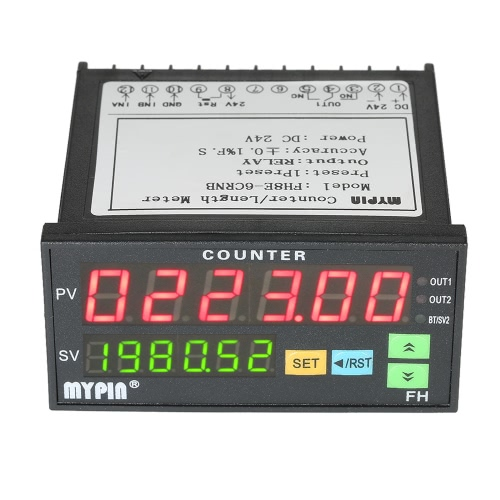 MYPIN Multi-functional Intelligent 24V DC Preset 6 Digital Counter Length Counter Length Meter Relay Output PNP NPN