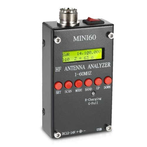 Mini60 Antenna Analyzer Meter 1-60MHz SARK100 AD9851 HF ANT SWR for Ham Radio Hobbists