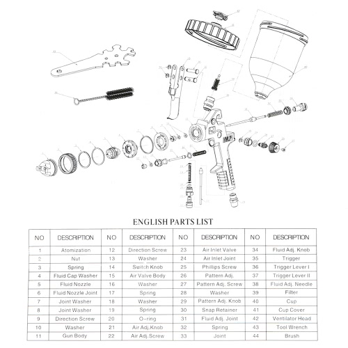 Glass Craft Spray Guns Breakdown Diagram Auto Electrical Wiring