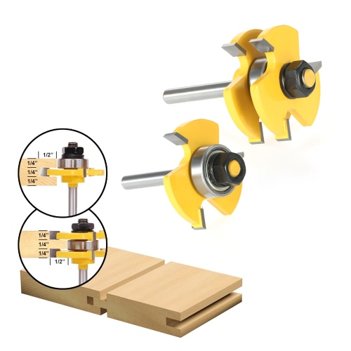 """2PCS 3/4"""" Stock 1/4"""" Shank Tongue & Groove Router Bit Set 3 Teeth T-shape Wood Milling Cutter For Woodworking Tools"""
