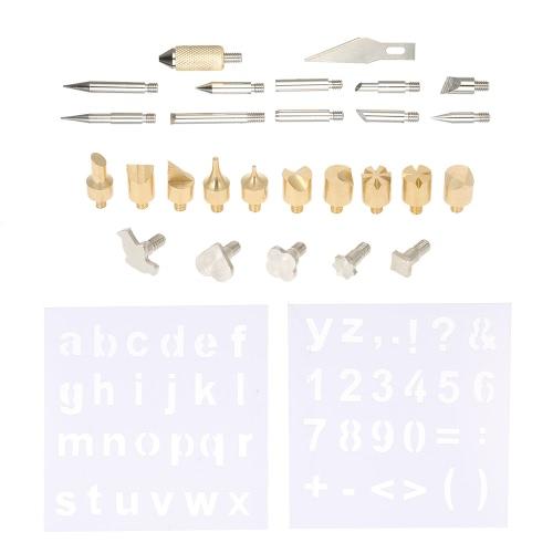 28pcs / set Conseils de soudage au bois Set Set Replacement Outils de sculpture sur bois Accessoires Kit avec pochoirs Hot Blade
