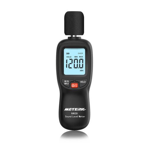 Meterk 30-130dB (A) Medidor de nível de som digital LCD Medidor de volume de ruído Instrumento Decibel Monitoring Tester