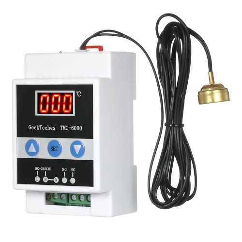 GeekTeches TMC-6000 110-240V Guide Rail Digital Temperature Controller Thermostat Refrigeration Heating Temperature Control 1 Relay with Sensor Probe