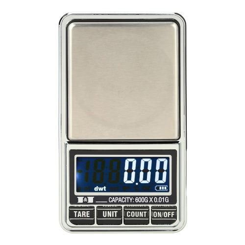 Meter Professional Digital Mini Digital Scale Jewelry Scala elettronica bilancia di precisione 600g * 0.01g / 1000g * 0.1g