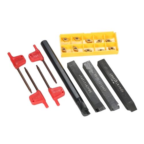 4pcs S12M-SCLCR06 / SDNCN1212H07 / SDJCL1212H07 / SDJCR1212H07 Barre di drenaggio + 10pcs / box DCMT0702 Inserti di carburo + 4pcs chiave del tornio CNC