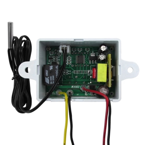 XH-W3002 All-Purpose Digital Delay Temperature Controller Pre-Wired Thermostat with Waterproof Sensor Heating and Cooling Mode 220V/24V/12V