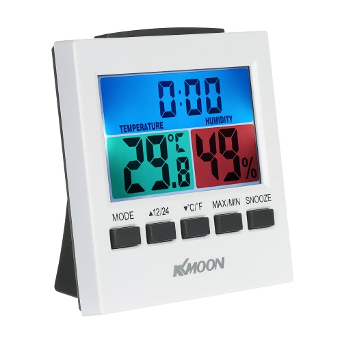 KKmoon LCD Digital Termómetro de interior Higrómetro Temperatura Medidor de humedad Reloj con retroiluminación Snooze Reloj de alarma Medición ℃ / ℉ Visualización mínima de valor mínimo