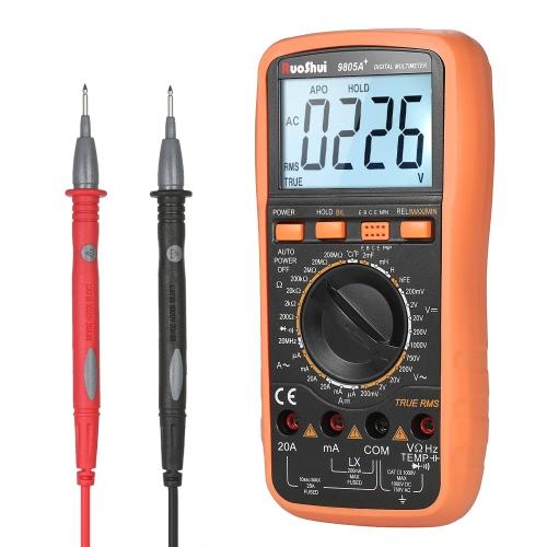 RuoShui 1999 Подсчитывает True RMS Многофункциональный цифровой мультиметр DMM с постоянным током переменного тока Напряжение Токовый измеритель сопротивления Сопротивление диода Тестер емкости Индуктивность температуры hFE Измерение Непрерывность Тест Подсветка ЖК-дисплей