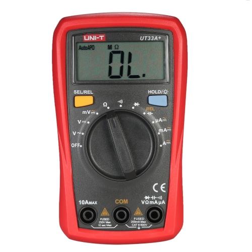 UNI-T UT33A + Dimensione Palm Dimensioni Digitali Multimetri Digitali a Pannello Automatico con Retroilluminazione Display LCD Tensione DC Tensione Misuratore di corrente Tester di capacità di resistenza