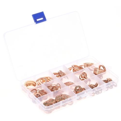 280pcs M5-M20 Copper Washers Conjunto de juntas Flat Sealing Ring Seal Sortimento Kit com caixa 12 tamanhos para acessórios de hardware