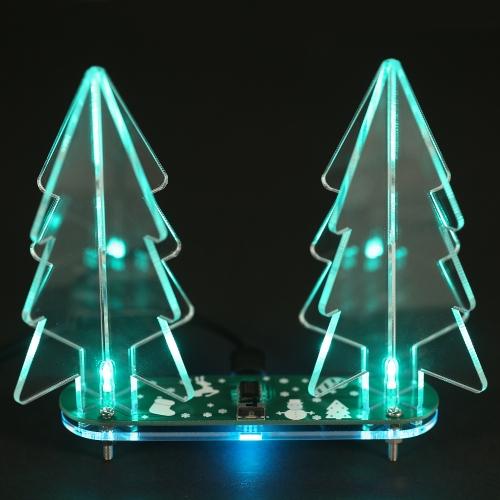 Albero di Natale acrilico 3D della luce di LED che cambia colore intero di DIY