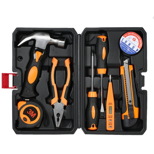 8pcs Multi-funcional Household Hand Tools Kit Electrical Maintenance Repair Tools Set with Storage Case