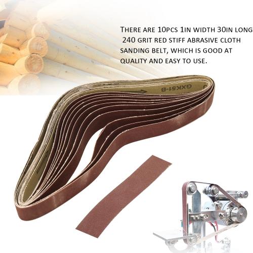 10pcs 240 Grit 1in Width 30in Long Red Stiff Abrasive Cloth Sanding Belt