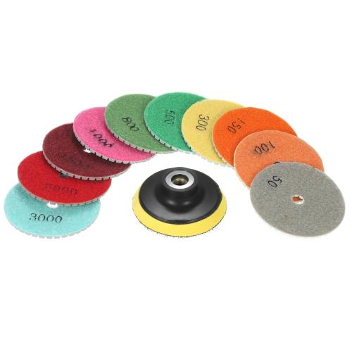 10шт 3-дюймовые гибкие мокрые полировальные подушечки шлифовальный диск + 1шт подкладка для гранита мраморный камень керамическая плитка бетон