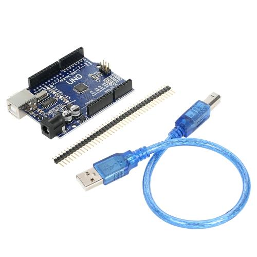 1 pacote UNO R3 ATmega328P CH340 placa de desenvolvimento de placa de USB versão recém-aprimorada