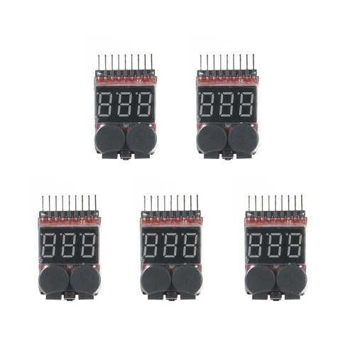 5pcs RC Lipo 2 in 1 batteria Voltage Tester Batteria Checker Voltmetro Low Voltage Buzzer Alarm 1s ~ 8s Low Battery Indicator