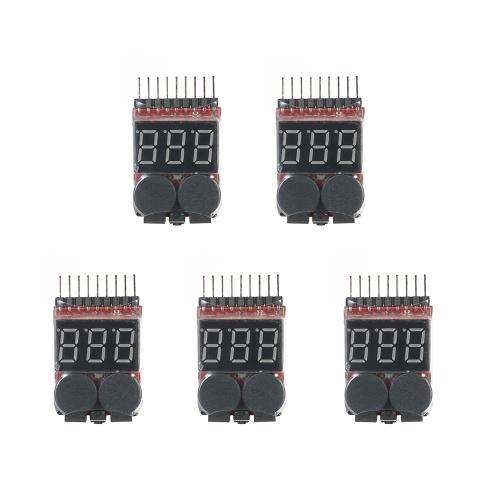 5 pcs rc lipo 2 em 1 testador de tensão da bateria testador de bateria voltímetro de baixa tensão buzzer alarme 1 s ~ 8 s indicador de bateria de baixa