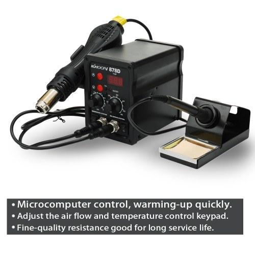 Цифровой дисплей ЕС с двумя в одной паяльной станции Электрический паяльник для горячего воздуха Термостатическая паяльная станция