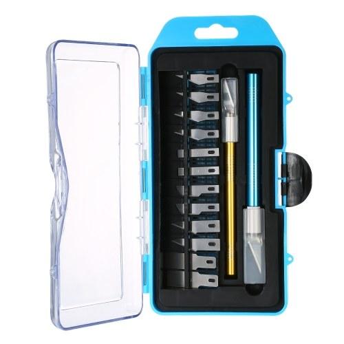 Set di coltelli per incisione di precisione di alta qualità KKmoon Set di penne per intaglio in legno con 12 lame e cappuccio di sicurezza per taglio e rifilatura