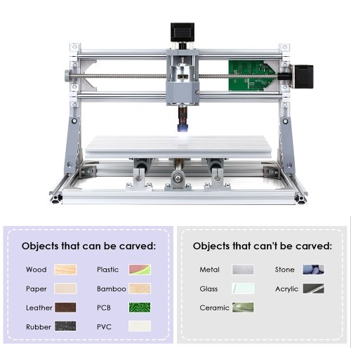 CNC3018 DIY CNC Router Kit 2-in-1 Mini Laser Engraving Machine GRBL Control 3 Axis for PCB PVC Plastic Acrylic Wood Carving Milling Engraving Machine with ER11 Collet and Protective Glasses XYZ Working Area 300x180x45mm