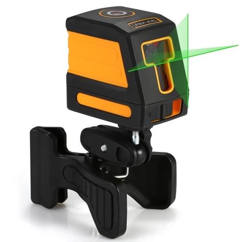 Nivelamento automático de 2 linhas Nível laser verde Conjunto de nível laser de nivelamento cruzado horizontal e vertical profissional com linhas de laser selecionáveis e dispersão de feixe vertical