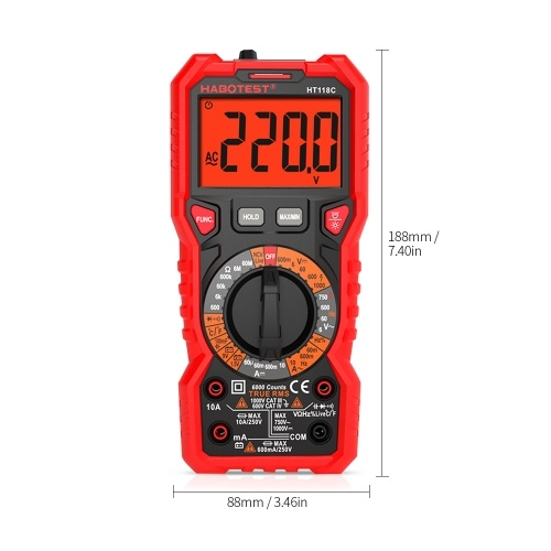 HABOTEST HT118C Digital Multimeter Manual Range Multi-meter 6000 Counts True RMS Measuring AC/DC Voltage Current Resistance Capacitance Frequency Temperature NCV Test Diode Battery Test with LCD Backlight Flashlight