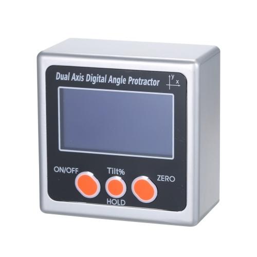 Мини Двухосевой Цифровой Угловой Транспортир Корпус из цинкового сплава 360 ° Диапазон измерения ЖК-дисплей Подсветка Цифровой инклинометр с магнитом фото