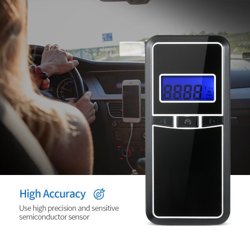 Digital Alcohol Breath Tester Breathalyzer Portable Digital Alcohol Tester with 5pcs Transparent Mouthpieces AT8000