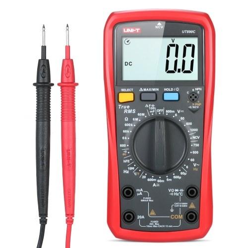 UNI-T UT 890 CデジタルマルチメータトゥルーRMSハンドヘルドミニユニバーサルメータAC DC電圧計電流計高精度測定AC / DC電圧電流抵抗容量周波数温度ダイオードテスタ
