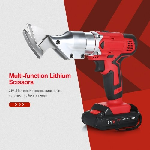 21V Li-ion Cordless Rechargeable Electric Scissor Metal Sheet Shear Cutter Scissors Rotating Head Power Tool