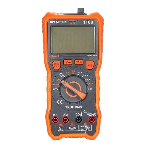 118B Цифровой мультиметр 20А 6000 отсчетов НЧВ HFE Истинно-среднеквадратичное значение 100 мФ Емкость Магнит AC / DC Напряжение Ток Температура