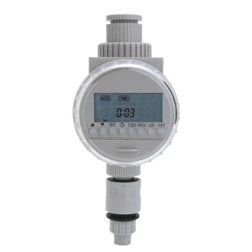 ホワイトソーラーパワー液晶画面ガーデン灌漑制御自動節水灌漑コントローラデジタル散水タイマー