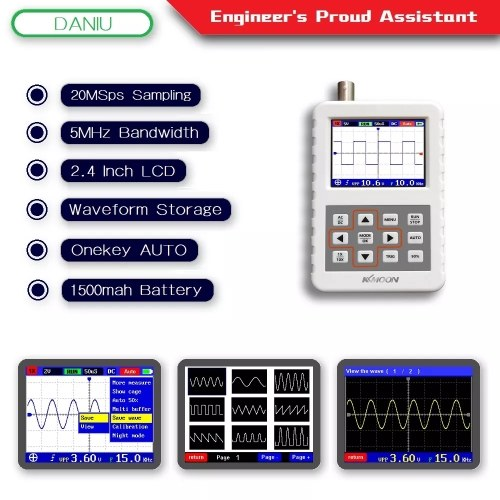 KKmoon DSO FNIRSI PRO Digital Oscilloscope Handheld Oscilloscope Mini Palm Size Oscilloscope with 5M Bandwidth 20MS/s Sampling Rate